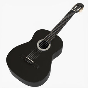 3D black wood classical guitar model