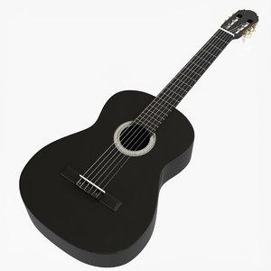 3D black wood classical guitar model