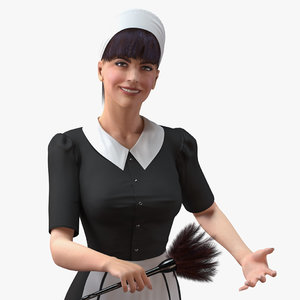 housekeeping maid rigged female 3D