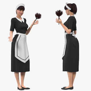 3D housekeeping maid rigged female
