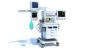 3D model anesthesia respiratory workstation trolley