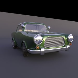 3D car cartoon rigged model