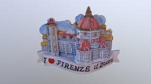 3D model love firenze magnet souvenir