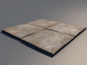 3D model concrete plates road