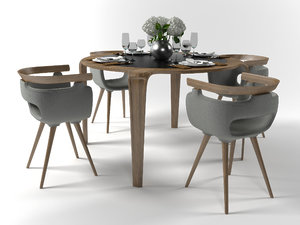 serving dining furniture set 3D model