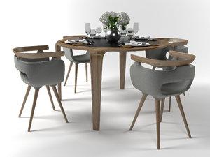 serving dining furniture set 3D model