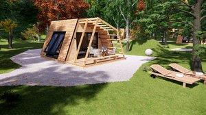 modern glamping pod house 3D