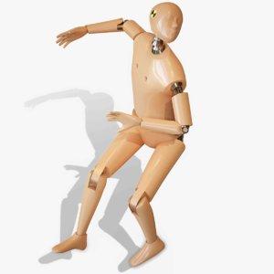 3D crash test dummy rigged model