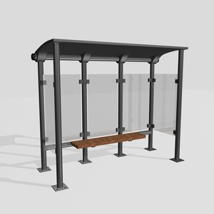 3D realistic bus stop model