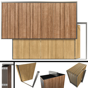 3D model sliding partition wood