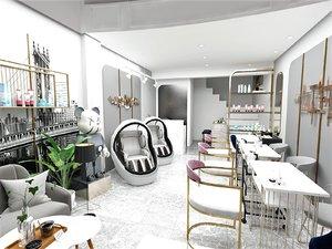 interior scene nail saloon 3D