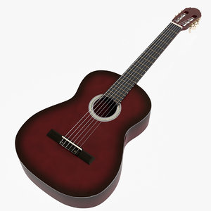 red sunburst classical guitar 3D model