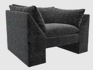 3D sunset chair black velvet