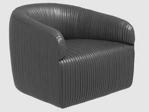 souffle club chair ruched 3D model