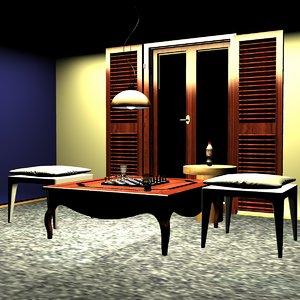 recreation room chess board 3D model