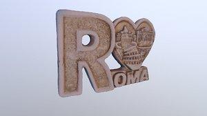 3D model rome heart magnet souvenir