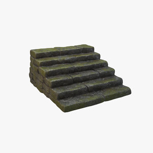 mossy wet stone steps 3D