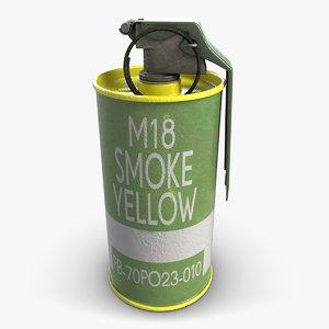 3ds max m18 yellow smoke grenade