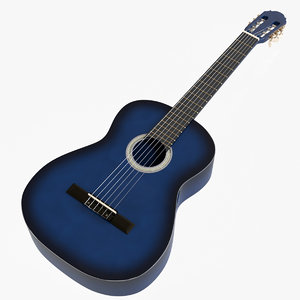 3D blue sunburst classical guitar