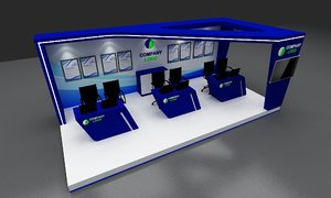 booth 3x6 hight 3D model