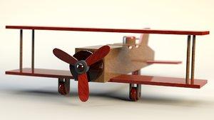 3D wooden biplane toy