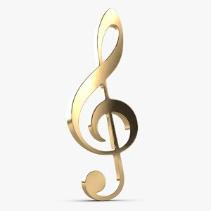 3D treble clef music key model