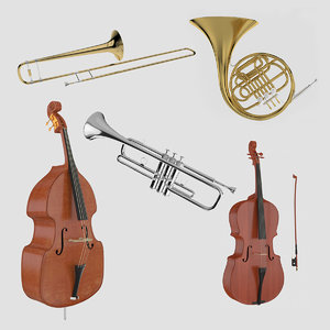 3D model orchestra musical instruments horn