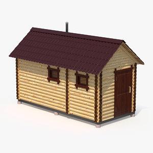 3D wooden sauna