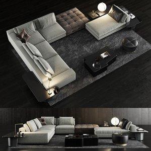 3D minotti lawrence sofa 3