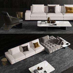 3D minotti lawrence sofa armchair model