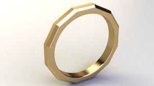 3D chamfered edges wedding band
