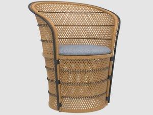 3D vintage 1970s wicker tub chair