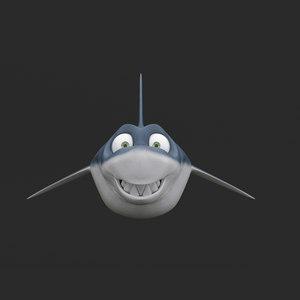 3D cartoony shark model