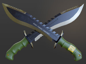 usmc marine kukri knife 3D model