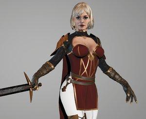 3D girl rigged assassin