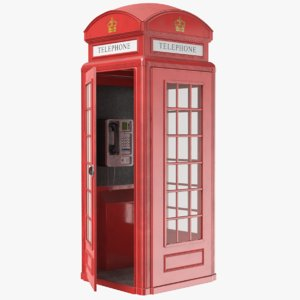 real public phone booth 3D model