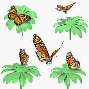 monarch butterfly collecting flying insect 3D model