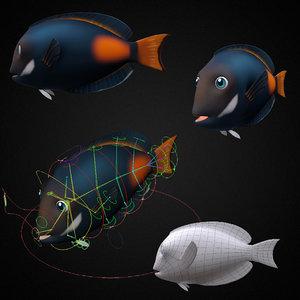 achilles tang fish toon 3D model