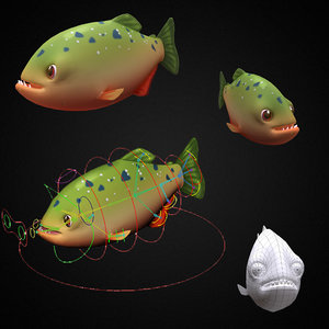 3D model red piranha fish toon