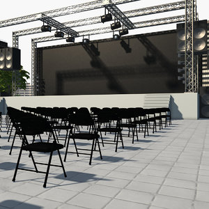 scene outdoor concert stage 3D