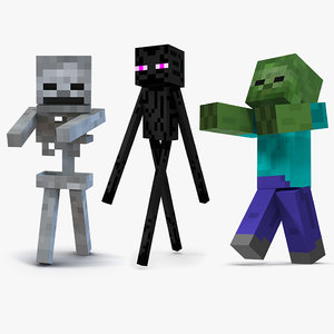 3D minecraft characters rigged