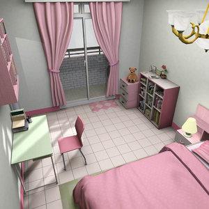 3D model girls bedroom