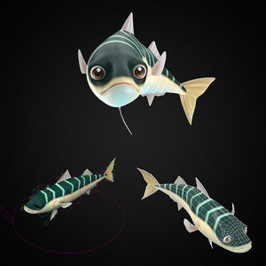 3D model blue mackerel fish toon