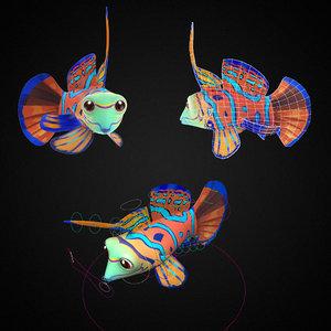 blue fish toon animation model