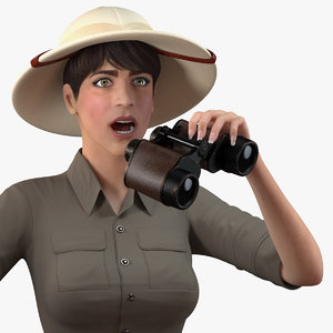 women zookeeper clothes rigged woman 3D model