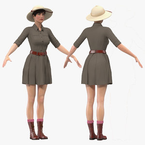 women zookeeper clothes rigged woman model