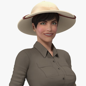 women zookeeper clothes rigged woman 3D