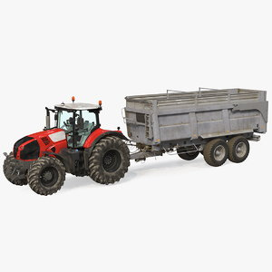 tractor agricultural trailer rigged 3D