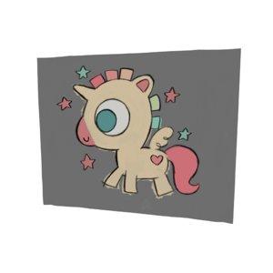 unicorn draw 3D model