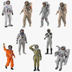 rigged astronauts 5 3D model